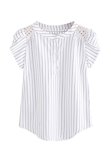 Romwe Women's Casual Striped Short Sleeve Button Down Blouse Shirts White (Eyelet Top)