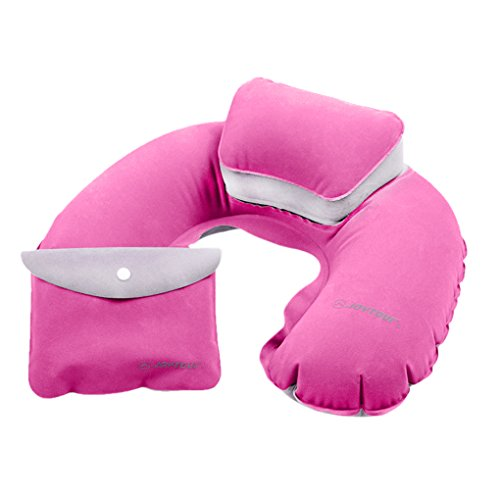 U-shaped Double Bowl - Holiberty Double Chamber Comfort Flocking Neck Head Support Inflatable U-Shaped Pillow Cuishion for Multi-Ways Travel Flight Car Rest Headrest with Pouch(Rose Red)