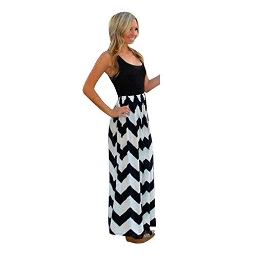 Mr.Macy 2018 New Fashion Womens Striped Long Boho Dress Lady Beach Summer Sundrss Maxi Dress (M, - Long Beach Macys