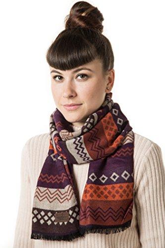 Braid White Necklace - Mio Marino Winter Cashmere Feel Women Scarf, 100% Cotton Fashion Scarves, In Elegant Gift Box - Purple Design on Rust and Off White