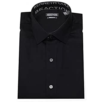 "Kenneth Cole Reaction Men's Textured Solid Dress Shirt, Black, 14.5"" 32-33"