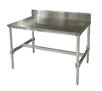 PVIFS AIFT303436 STBS Stainless Steel Top I Frame Work Table With 6u0026quot;  Back