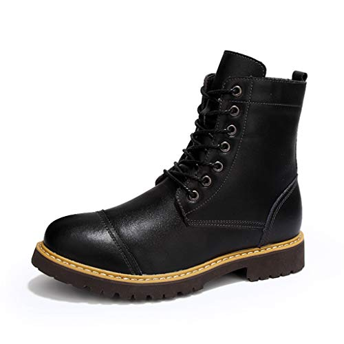 Giles Jones Combat Boots for Men Winter Leather Wear Resistant Durable Motorcycle Boots ()