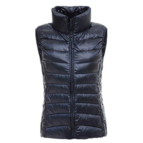 Navy Down Lightweight Women Yiiquan Winter Vest Warmer Outwear Blue Packable Collar Gilet Stand Body nXn7xqv