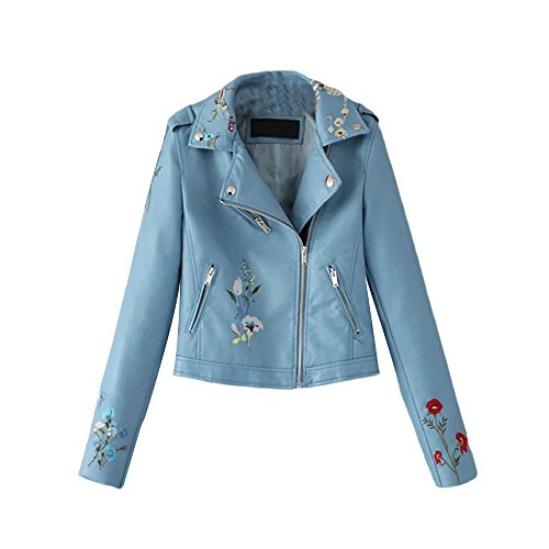 Sleeve Floral MIRRAY Casual Down Turn Zipped Cool Outerwear Blue Collar Womens Faux Winter Leather Coats Jackets Short Girls Embroidery Solid Large Long with Outwear Pockets Autumn Size 80wr8AqP