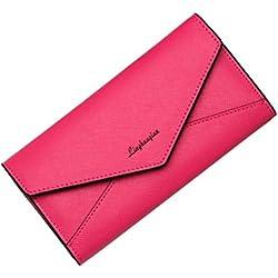 Womail Women Fashion Long Envelope Wallet Card Coin Change Holder Handbags (Hot Pink)