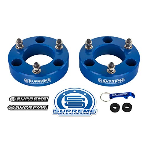 """Supreme Suspensions - Front Lift Kit for 2007-2020 Chevrolet Silverado 1500 and GMC Sierra 1500 3"""" Front Lift Billet Aluminum Strut Spacers 2WD 4WD (Blue)"""