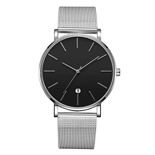 LUCAMORE Mens Quartz Watch,Analog Wrist Minimalist Watches Fashion Date Window Ultra-Thin, Mesh Stainless Steel Strap