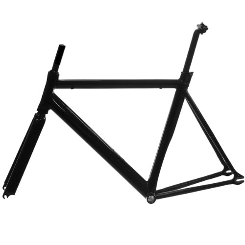 Track Fixie Single Speed Road Bike Frame with Fork Headset Seatpost Black