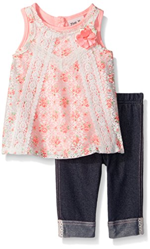 Little Lass Baby Little Girls' 2 Pc Capri Set Floral Lace, Ivory, 6 - Floral Kids Capris