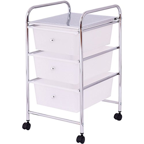 BeUniqueToday 3 Drawers White Metal Rolling Storage Cart, 3 Stylish Colored Plastic Sliding Drawers in A Metal Frame, 3 Drawers White Metal Rolling Storage Cart with A Metal Panel On The Top