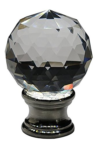 (Urbanest Crystal Fractal Lamp Finial, Brushed Steel, 1 11/16-inch)