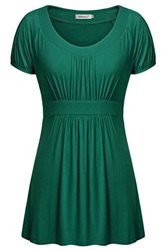 Empire Waist Silk Tunic - Helloacc Womans A Line Pleated Tunic Short Sleeves Summer Shirts Dress Top