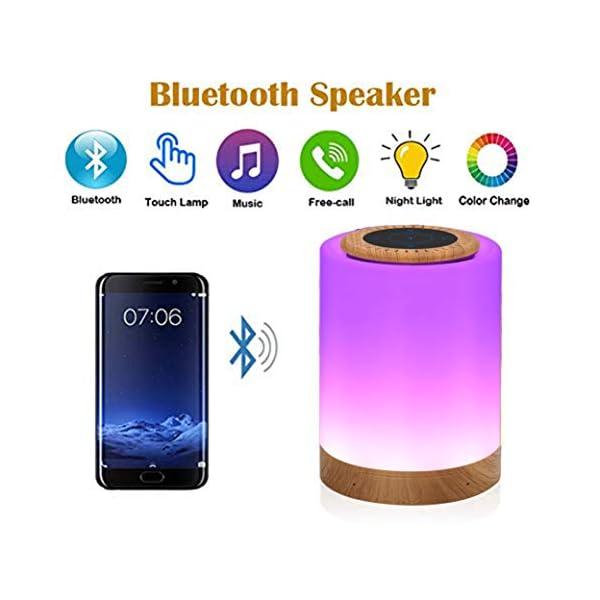 TAIPOW Lampe de Chevet LED Touch Portable avec Enceinte Bluetooth, Veilleuse Multicolore Disco Light Lecture de MP3 Support TF AUX-IN USB Rechargeable, Cadeau pour Adulte Ados Enfants Bébé 3