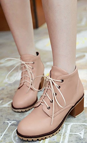 Lace IDIFU Mid Ankle Fashion Short Women's Boots Chunky Pink High Heel Round Martin Up Toe FFvrEnYwq