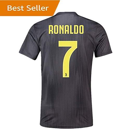 Mens Away Jersey - 1819newjs Juventus Ronaldo #7 Away Soccer Jersey Mens 2018-2019 Black (S)