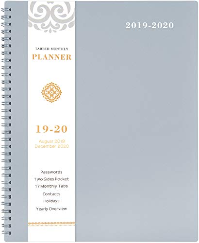 2019-2020 Monthly Planner - 17-Month Planner with Tabs & Pocket & Label, Contacts and Passwords, Thick Paper, Twin-Wire Binding, 8.5