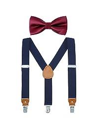Child Boys Adjustable Silk Bowties & Suspender Sets Y Back Metal Clips Genuine Leather Suspenders (Navy + Burgundy bowtie)