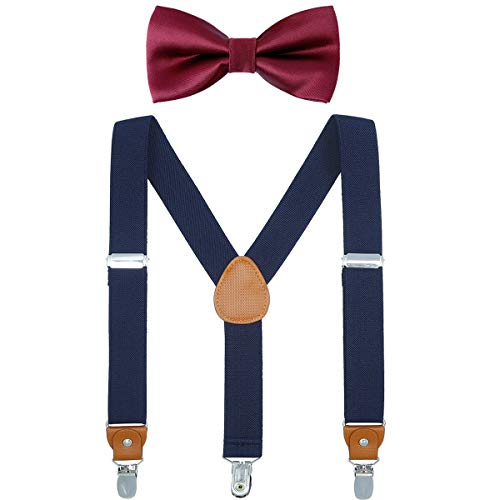 Child Boys Adjustable Silk Bowties & Suspender Sets Y Back Metal Clips Genuine Leather Suspenders (Navy + Burgundy bowtie)