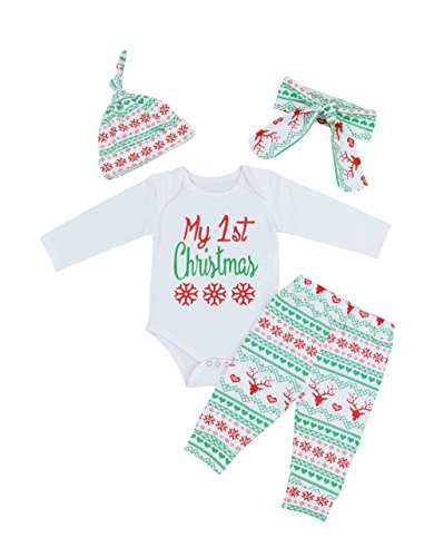 Christmas Baby Boys Girls Outfit My First Christmas Rompers Clothes Set(6-12 Months) Christmas Outfit Boys