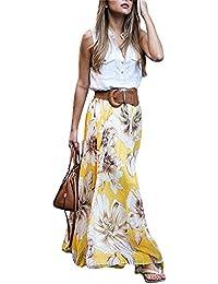 MICHEN women's summer print high waist fold chiffon Maxi...