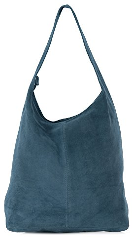 Italian Suede Leather Single Shoulder Strap Hobo Slouch Bag with Protective Storage Bag – Shay Denim Blue (Italian Leather Large Hobo)