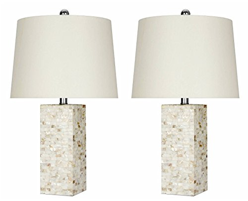 Abbyson Mother Of Pearl Square Table Lamp, Set of 2, - Mother Pearl Of Desk