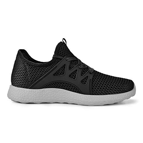 Feetmat Womens Sneakers Ultra Lightweight Breathable Mesh Athletic Walking Running Shoes Black/Grey 7 ()