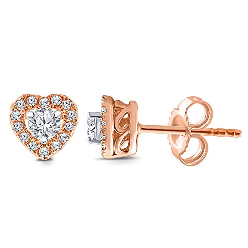 Triss Jewelry 1/4 Cttw Diamond Heart Shape Stud Earring For Women in 10k Pink Gold