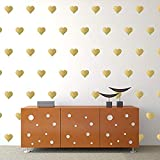 """Gold Hearts Wall Decals (3""""- 120 Decals) Removable Peel and Stick Metallic Vinyl Décor Stickers. 3 Sheets of 3 Inch Hearts. for Home, Childrens Room, Living Room, Bedroom, and Nursery"""