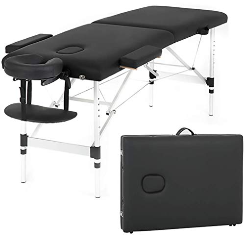 Massage Table Massage Bed Spa Bed 73 Inch Aluminium Massage Table W/Face Cradle Carry Case Height Adjustable 2 Fold Portable Facial Salon Tattoo Bed
