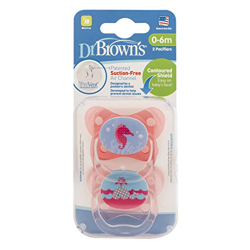 Dr. Browns Prevent Contour Pacifier, Stage 1 (0-6m), Polka Dots Pink, 2-Pack