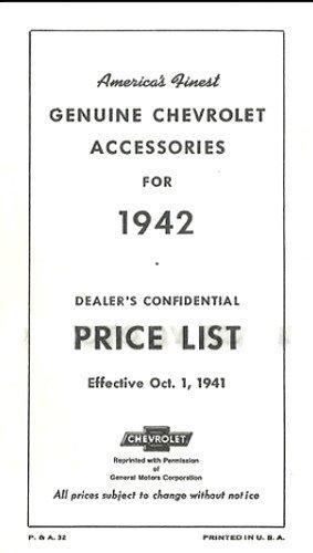 1942 Chevrolet NEW CAR Dealer Accessory Price List PDF