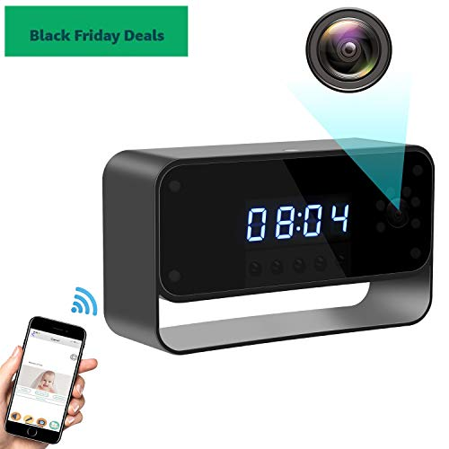 Hidden Camera WiFi Spy Camera Clock HD 1080P Wireless Security Cam for Home Nanny Cameras Starlight Night Vision Remote View