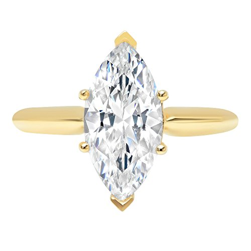 2.5ct Marquise Brilliant Cut Classic Solitaire Designer Wedding Bridal Statement Anniversary Engagement Promise Ring Solid 14k Yellow Gold, 9.25 by Clara Pucci (Image #3)