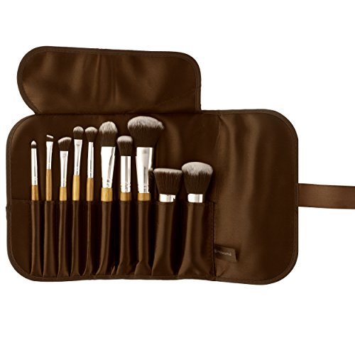 Missamé 10 Pcs Makeup Brushes For Face And Eye Cosmetics, Premium Synthetic Hair, With Brush Bag Organizer