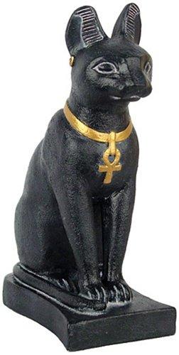 (Bastet Egyptian Cat, Black and Gold Finish, 7