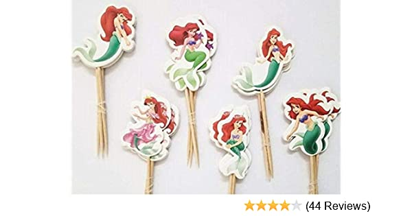 Mermaid Little mermaid Cupcake Topper 12 Pack Cupcake Topper Decoration Cake Gold