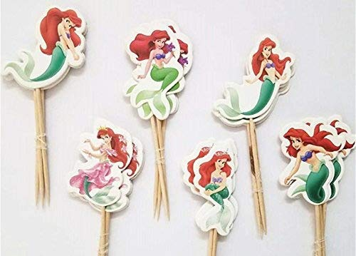 The Little Mermaid Cupcake Toppers Birthday Party Disney Little Mermaid Cake Toppers Pack of -