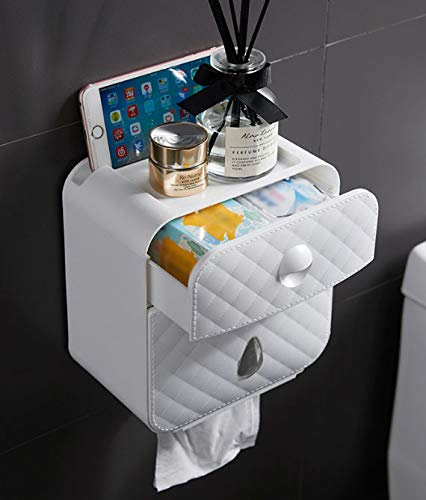 Toilet Paper Rack,Bathroom Wall-Mounted Punch-Free Waterproof Plastic Multifunctional Fashion Double Layer Toilet Tissue Pack Dispenser Toilet Tissue Box ILYTEX Hygienic Carton Toilet Paper Holder