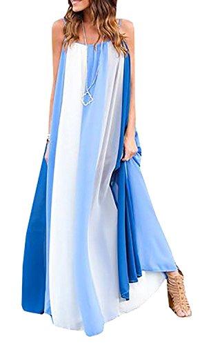 Farktop Women's Sexy Plus Size Sling Striped Beach Chiffon Maxi Casual Dress ()