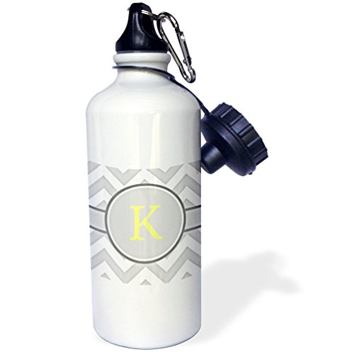 "3dRose wb_222099_1 ""Grey & White Chevron with Yellow Monogram Initial K Sports"" Water Bottle, 21 oz, Natural"