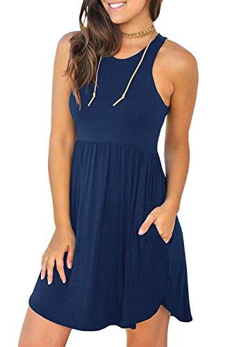 Viishow Women Sleeveless Pockets Pleated Loose Swing Cover Ups Casual Short T Shirt Dresses Sleeveless Navy Blue S