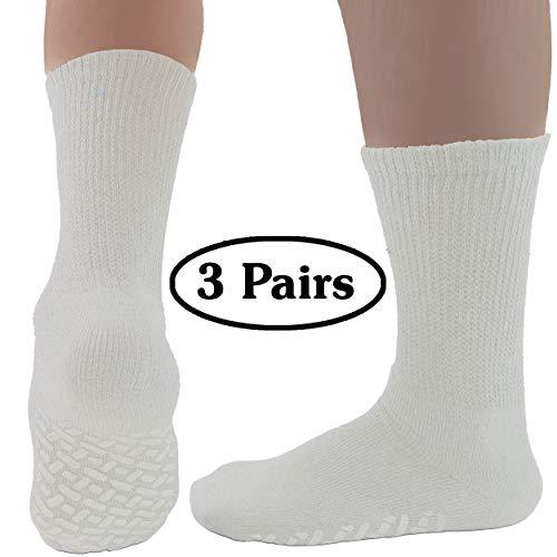 (Diabetic Socks Mens Non-slip Grip Cotton 3-Pack Crew White By DEBRA WEITZNER)