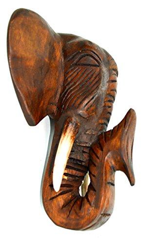 Hand carved mahogany wood elephant head african asian wall
