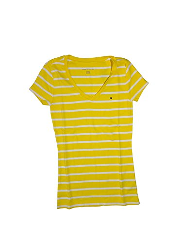 abef021e Galleon - Tommy Hilfiger Women's Striped V-Neck T-Shirt (Large, Yellow/White )