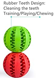 Dog Toy Ball for Pet Training/Playing/Chewing, Non-Toxic Soft Rubber Tooth Cleaning Toys, 2.8\
