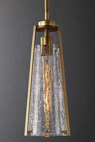 Untrammelife Gold Pendant Light,1-Light Pendant Light Fixtures Adjustable Height,Hand Blown Thick Glass Brushed Brass Finish