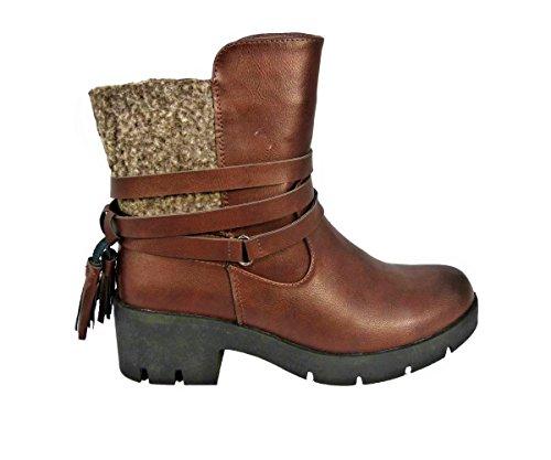 Heels cw17077 Stivaletti Chelsea Marrone Tassel Uk Block 3 8 Zip Taglia Chunky Up Strappy Womens qHnIS0wx6S