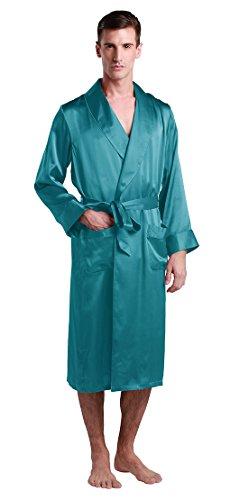 (LilySilk Raw Silk Robe for Men Long Tea Length Lapel Collar Sleeping 22 Momme Pure Silk Medium, Dark Teal)